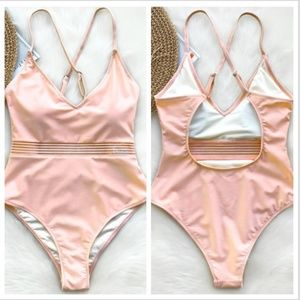 Blush Pink Cut Out One Piece Swimsuit